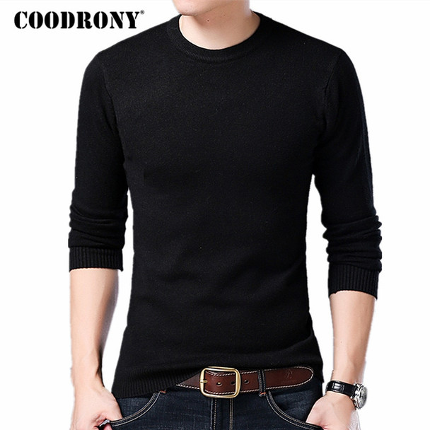 COODRONY Sweater Men Autumn Winter Warm Mens Knitted Wool Sweaters Solid Color Casual O-Neck Pull Homme Cotton Pullover Men 7209
