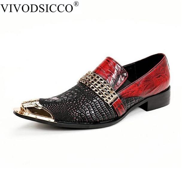 VIVODSICCO Fashion Italian Men Dress Shoes Retro Genuine Leather Crocodile Grain Men Shoes Party Wedding Slip on Men Flat Loafer