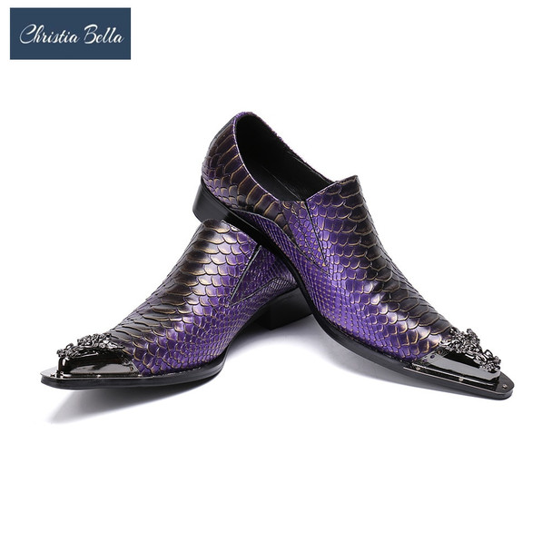 Christia Bella Men Dress Shoes Luxury Brand Slip On Wedding Shoes with Metal Pointed Toe Men Snake Pattern Chaussure Homme