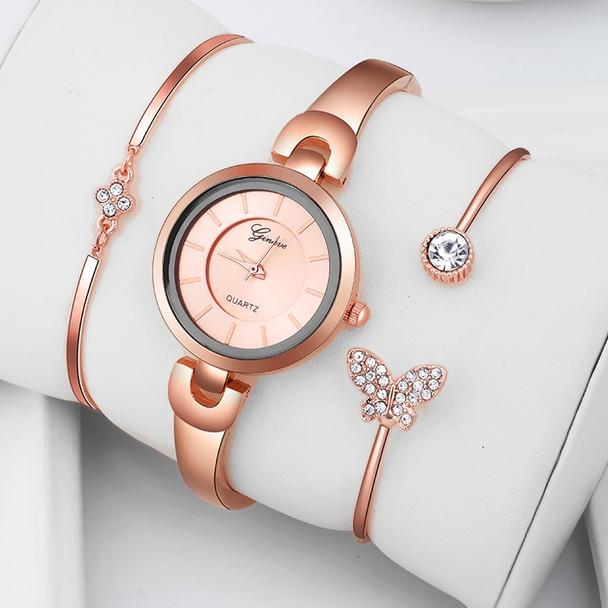Casual Elegant Butterfly Quartz Bracelet Watch 3 PCS Set Women Rose Gold Simple Jewelry Ladies Small Dial Wristwatch