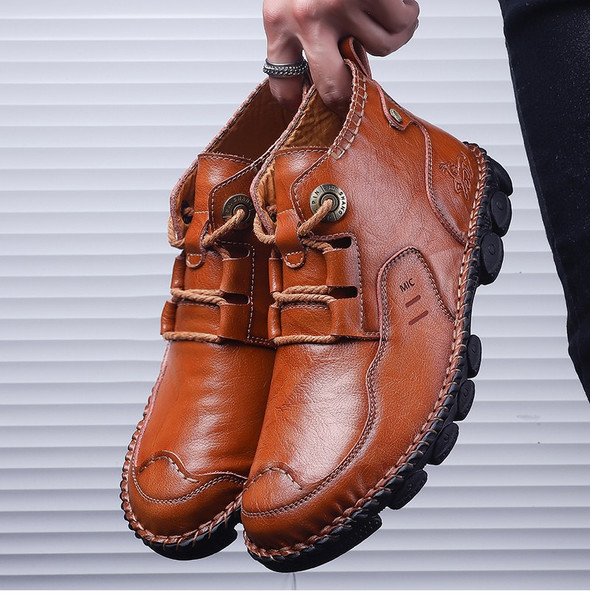 New Classic Genuine Leather Men Shoes Autumn Casual High Top Sneakers for Male Comfortable Shoe Footwear Big Size 38-48