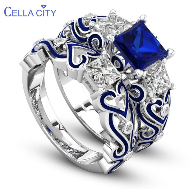 Cellacity Classic 925 Silver Rings For Women Double Layer Sapphire Ruby Gemstone Silver Fine Jewelry Party Gift Wholesal