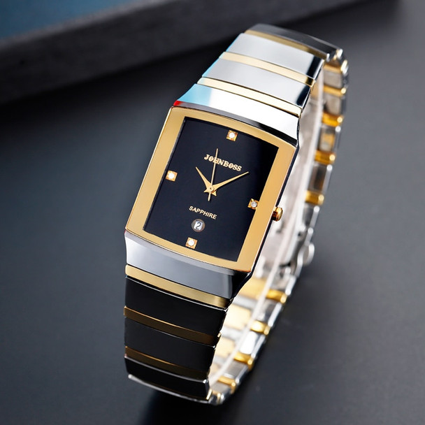 Rectangle Business Tungsten Steel Watch Men Swiss Move Waterproof Sapphire Crystal Scratch-Resistant For Whole Watch Couple