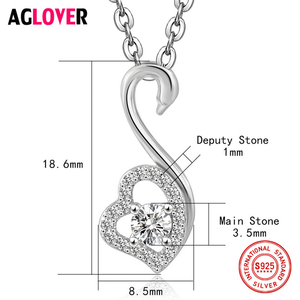 Charm Heart Necklace 100% Sterling Silver Woman Fashion Swan Pendant 925 Silver Necklace High Quality Crystal Female Jewelry