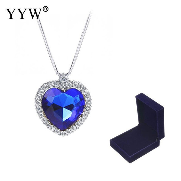 New Hot Fashion Heart Rhinestone Blue Crystal Pendant Necklace Vintage Silver Color Plated Box Chain Choker Necklaces For Woman