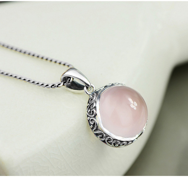 2017 Collier Sautoir Long Hot Sale Link Chain Pendant Necklaces Colares Natural Crystal Circle 925 Sterling Jewelry Lotus Stone