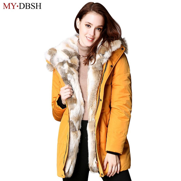Fashion Women's Winter Warm Down Parkas White Duck Down With Luxurious Large Fur Lady Down Jackets Lovers Casual Outwear Coats