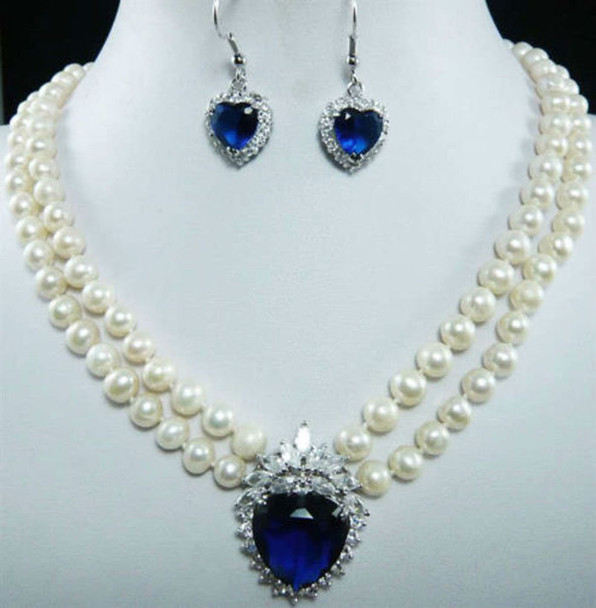 7-8mm Natural White Pearl Blue Crystal Pendant Necklace + Earrings Set