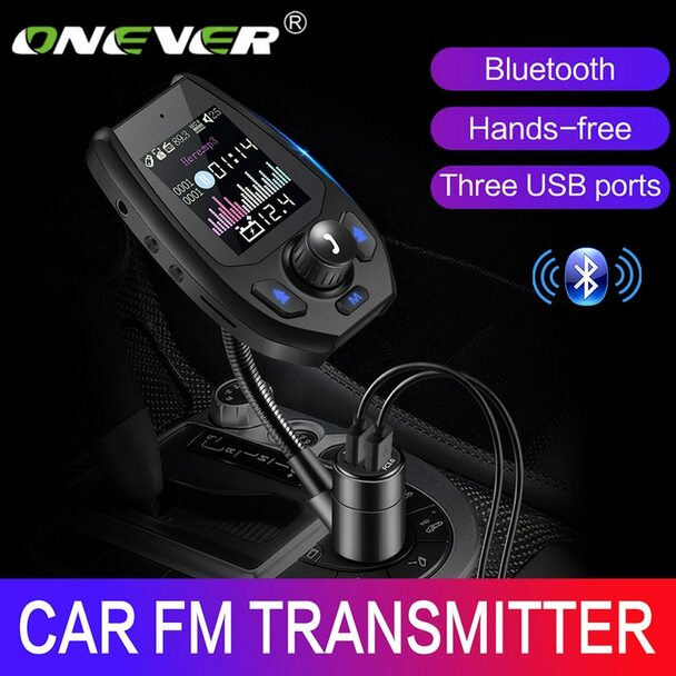 Onever 5V 4.2A FM Transmitter Car Bluetooth Handsfree Modulator QC 3.0 Three USB Ports Charger MP3 Player 12V-24V Car Kit Fit TF