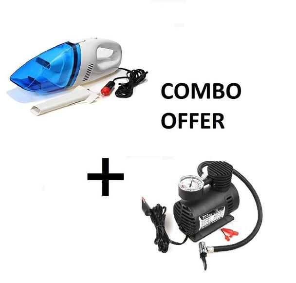 Car Vacuum + Electric Air Pump for Car Combo
