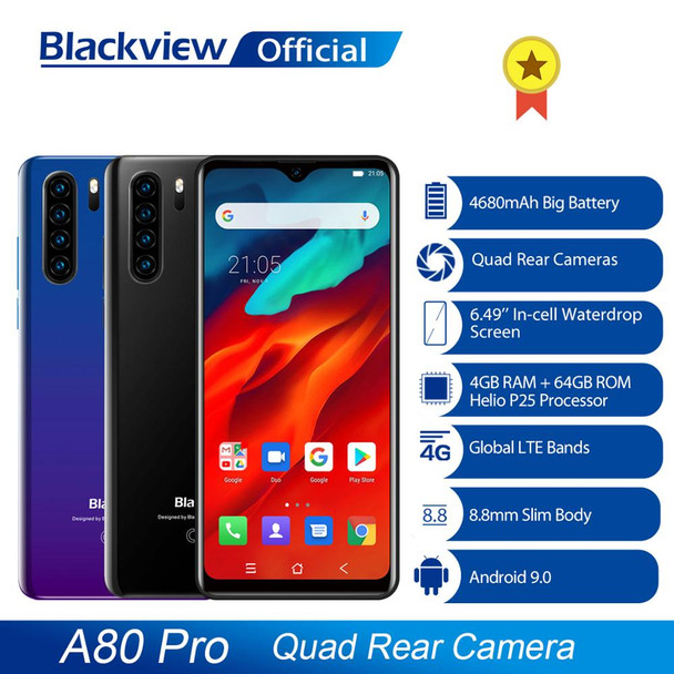 Global Version Blackview A80 Pro Quad Rear Camera Octa Core 4GB+64GB Mobile Phone 6.49' Waterdrop 4680mAh 4G Celular Smartphone