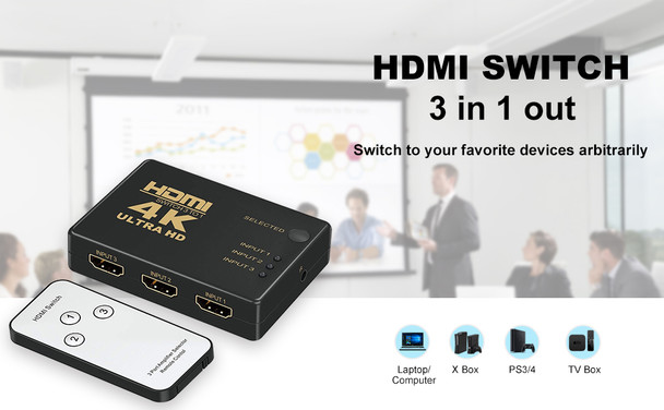 HDMI Switch Splitter 3 Ports with Remote Control, UHD 2K 4K Support and HD Audio for Xbox One, Roku 3, Apple TV HD TV PS3 PS4 (Black)
