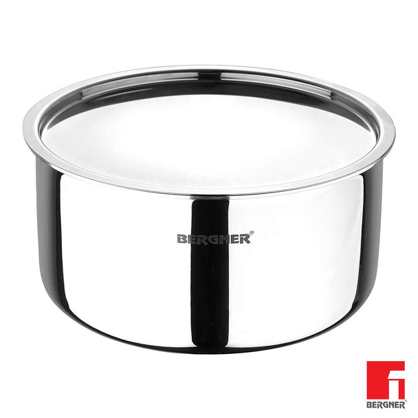 Bergner Argent Triply Stainless Steel Tope with Stainless Steel Lid 14 cm 1 Litre Induction Base Silver