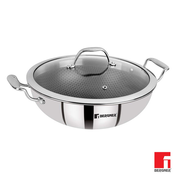 Bergner Hitech Prism Triply Stainless Steel Non- Stick Kadhai with Glass Lid 32 cm 5.8 Liters Induction Base Silver