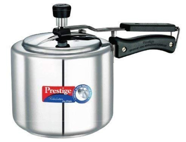 Prestige Nakshatra Alpha Induction Base Stainless Steel Pressure Cooker 3 Litters Silver
