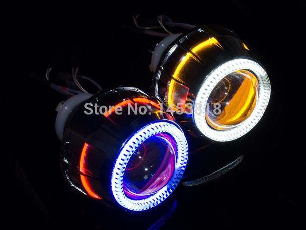 "2.8HQI 35w 2.8"" inch Hid Bi xenon Projector Headlight kit CCFL Double Angel Eyes For Headlight H1 H4 H7 H11 4300k 6000k 8000k"
