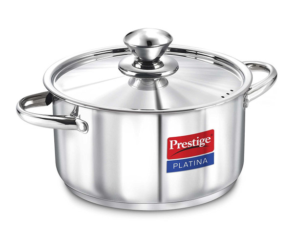 Prestige Platina Induction Base Stainless Steel Casserole 200mm 3 litres Metallic Steel