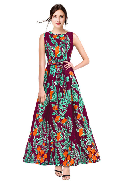 New 2021 Designer Printed Western Maxi Gown-Purple(Size-L)