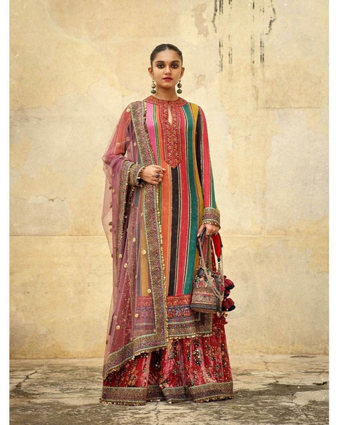 New 2021 Good Quality Heavy Golden Zari Silk Multi Color With Striped Top with Fully Stitch Palazzo
