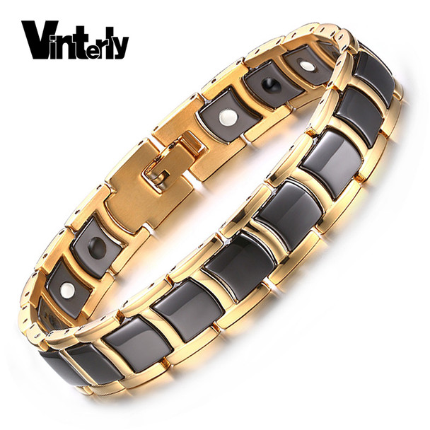 Vinterly Mens Bracelet Health Black Ceramic Bio Magnetic Germanium Bracelets Men Hand Chain Link Gold Color Stainless Jewelry
