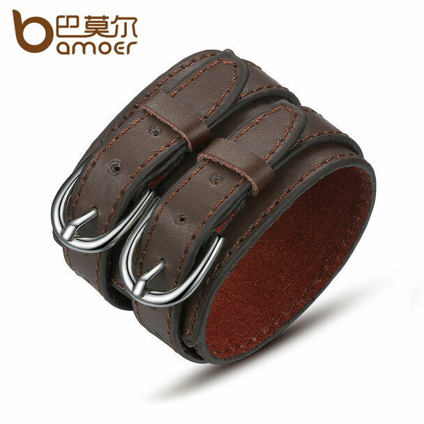 BAMOER Fashion Double Belt Leather Wrist Friendship Big Wide Bracelet for Men Buckle Vintage Punk Jewelry PI0268
