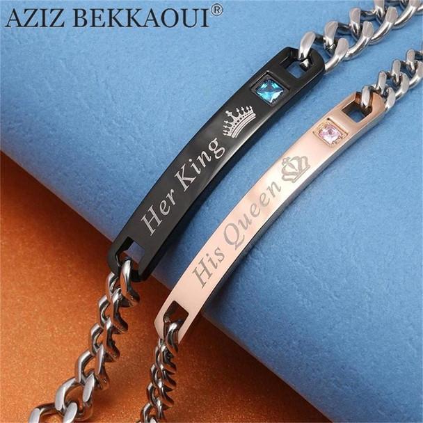 AZIZ BEKKAOUI DIY Her King His Queen Couple Bracelets Stainless Steel Crytal Crown Charm Bracelets For Women Men Drop Shipping