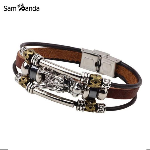 Bracelet Men Accessoires Homme 2017 Tibetan Silver Men Leather Bracelet Fashion Male Vintage Parataxis Dragon Multilayer Jewelry