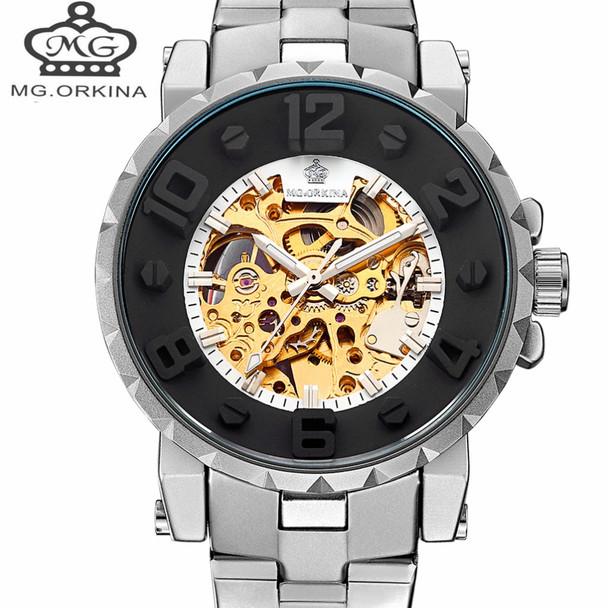 Automatic Mechanical Watch Men Hot Skeleton Watches Silver Bracelet Wristwatch Luxury Brand ORKINA Men's Watch Auto Self-winding