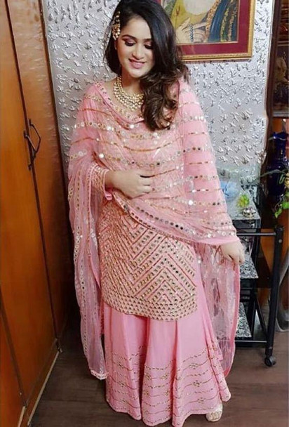 New 2021 Presenting Beautiful Heavy Georgette Top With Palazzo Suit-Pink-Size-44