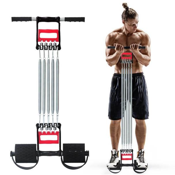 3 in 1 Chest Expander Spring for Men Inbuilt Hand Gripper Cum Tummy Trimmer Exerciser with 5 Detachable Springs for Home Mini Gym