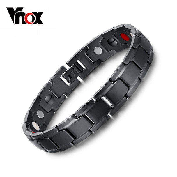 Vnox Health Magnetic Bracelet Men Jewelry Black Stainless Steel Chain Adjustable free box (Vnox Bracelet)