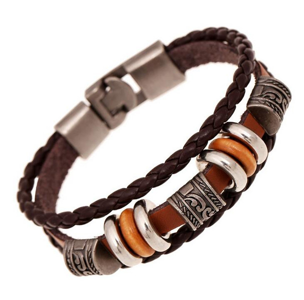 AMOURJOUX Handmade Retro Genuine Leather Woven Charm Bracelet Men Vintage Braided Bracelets Bangles Male Jewelry