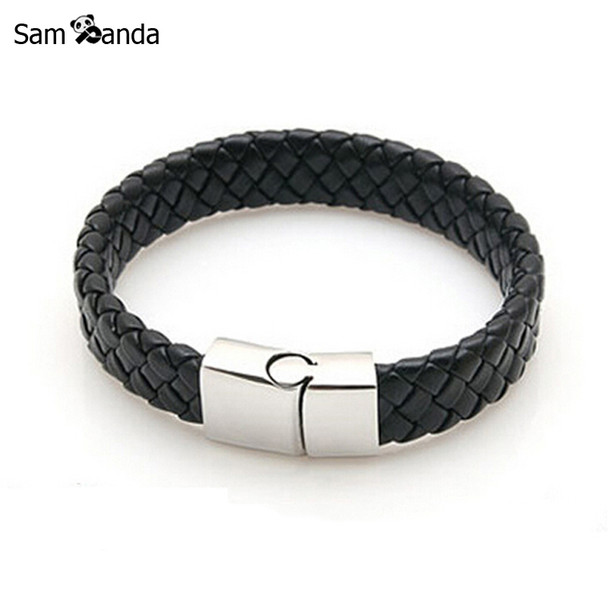 New Fashion Jewelry Black Braided Leather Bracelet Men Stainless Steel Bracelets Bangles De Couro Pulseiras Masculinos YK2057