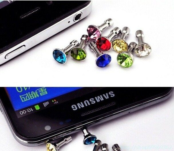 10pcs/lot Colorful Diamond Rhinestone Dust Plug Earphone Plug For iPhone 4 4s 5 5s 6 6s/Samsung/iPad Mobile Phone Accessories