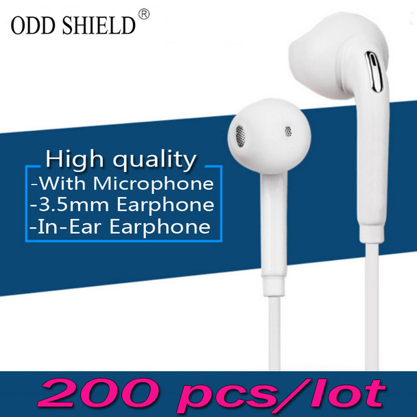 200 pcs/lot Wholesale Sport Earphone Mic 3.5mm high quality Earbuds ODD SHIELD for Samsung Galaxy S4 S5 S6 S7 Edge Note 3 4 5 7