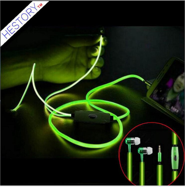 Free shipping 10 pcs /lot hot selling  Luminous headset factory wholesale metal ear type EL cold light  bass  earphone