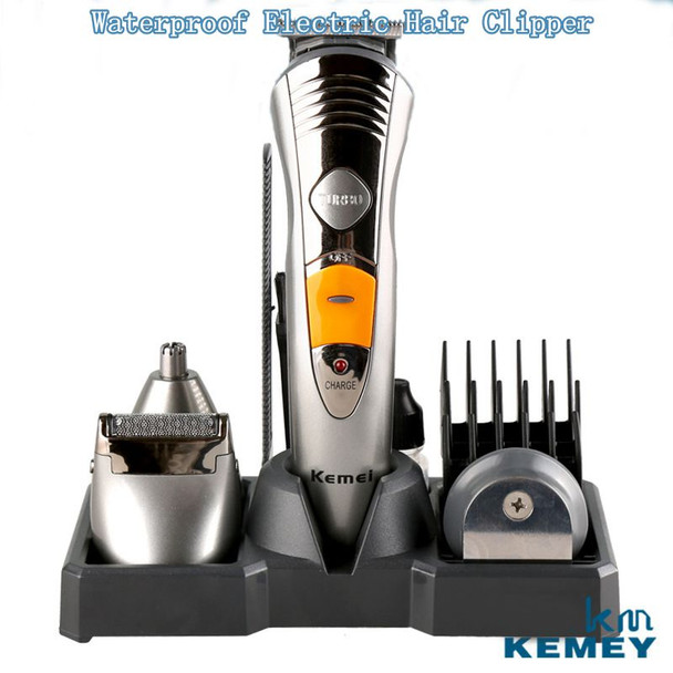 7 in 1 Waterproof Electric Hair Clipper Kemei Professional Hair Trimmer Shaver Beard For Men Waterproof Family Haircut Tool