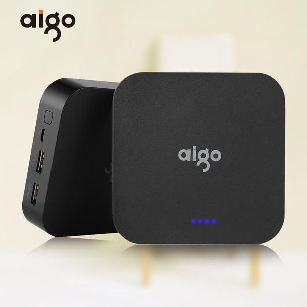 Aigo Mini Real Capacity 10000mAh Powerbank 3.7V LED Indicator Large Battery Power Pank Dual USB Port Mobile Charger for Iphone