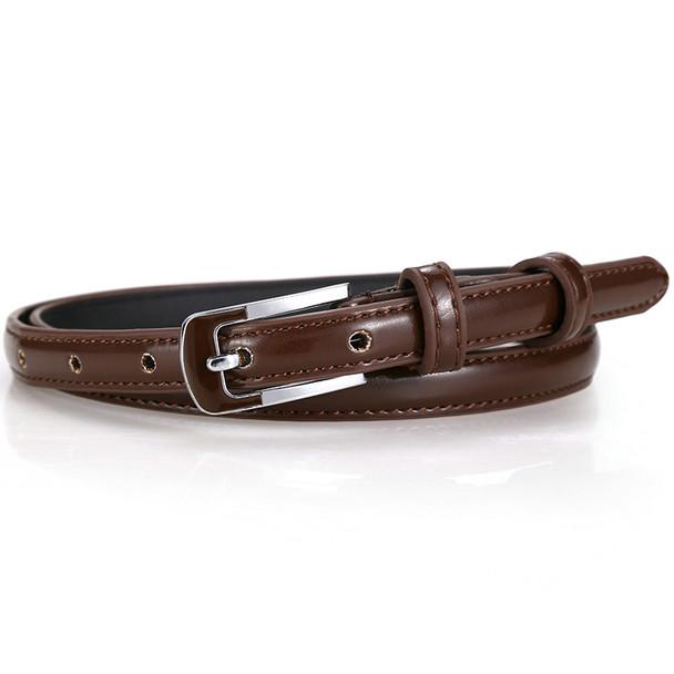 Badinka 2017 New 8 Colors Thin Pu Leather Belt Female Red Brown Black White Yellow Waist Belts for Women Dress Strap Wholesale
