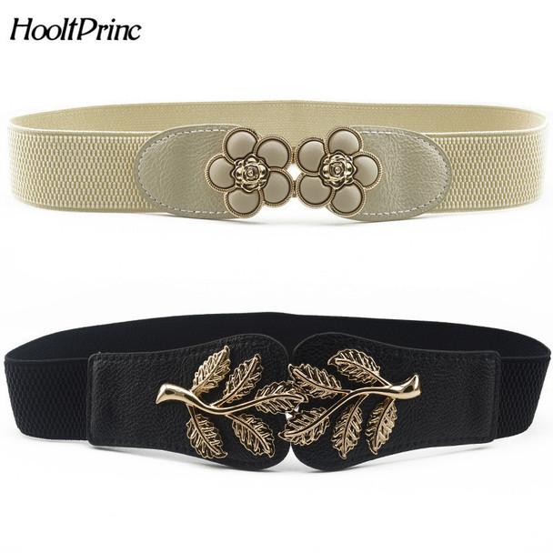 HooltPrinc New Vintage Design Belt For Women alloy Buckle Wide Elastic Stretch Waist Belt Female PU Leather Fashion Joker Belt