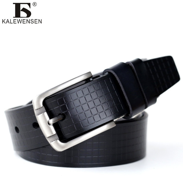 2017 mens cow genuine leather luxury strap male belts for men 2 colors cintos masculinos plate buckle 4024