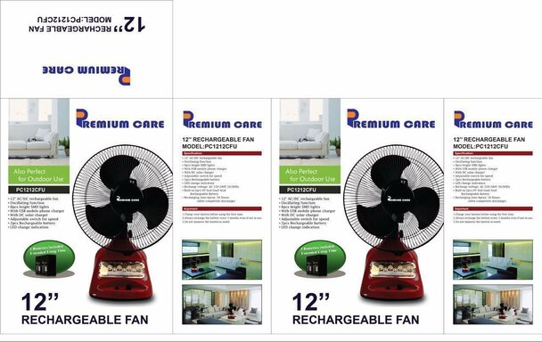 """12"""" Rechargeable Emergency Oscillating Table Fan with LED Light + mobile charger + Solar Panel Socket"""