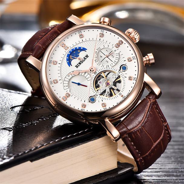 BINSSAW New 2017 Men Full-automatic Mechanical Watch Tourbillon Luxury Fashion Brand Genuine Leather Man Multifunctional Watches