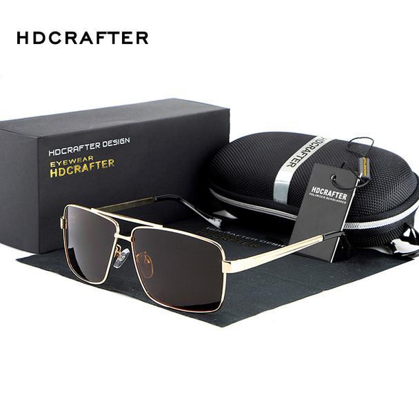 HDCRAFTER rectangle Polarized mens sunglasses brand designer 2017 retro Vintage Eyewear Accessories Sun Glasses For Men shades