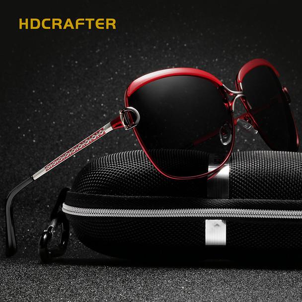 HDCRAFTER Luxury Sunglasses Women 2017 Brand Designer Large Sun Glasses  Female Retro Polaroid Eyewear Women UV400 oculos de sol 74d4f4976a
