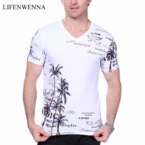 2018 Summer Men's T-shirt New Fashion Coconut Island Printing T Shirt Men V Neck Short Sleeve Slim Fit Casual Mens Tee Shirt 5XL