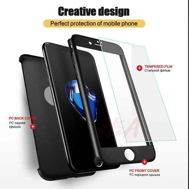 H&A Luxury 360 Degree Full Cover Case For iPhone 6 6s 7 8 Plus Phone Cases For iPhone 8 5 5S SE Cover Shell With Tempered Glass