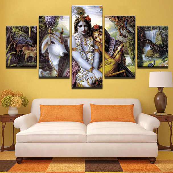 Canvas HD Prints Living Room Pictures Frame 5 Pieces India Myth Krishna Vishnu Painting Wall Art Animal Poster Home Decor PENGDA
