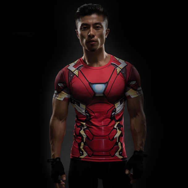 Iron man compression shirt captain america 3d printed t-shirts men avengers 3 short sleeve slim fitness cosplay clothing male