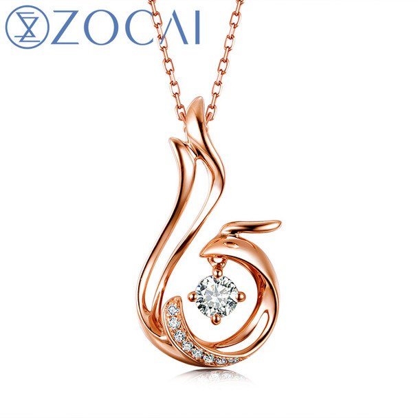 ZOCAI Love Forever Patent Real 18K Gold Genuine 0.11 CT Certified Diamond Phoenix Pendant  with 925 Silver Chain D00037